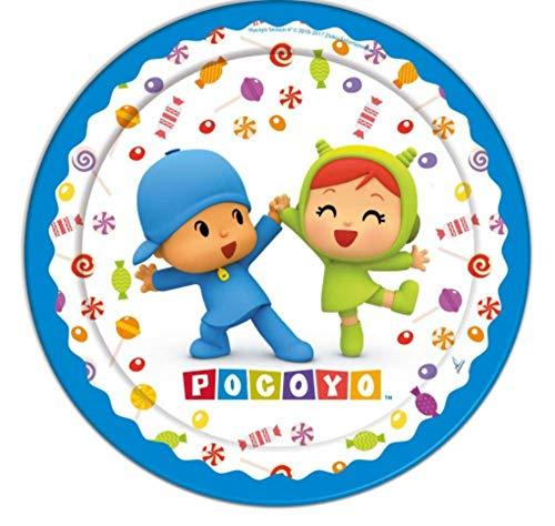 CAPRILO Lote de 40 Platos Infantiles Decorativos de Cartón Pocoyo y Niña. Vajillas Desechables. Juguetes y Regalos Fiestas de Cumpleaños, Bodas, Bautizos, Comuniones y Eventos.