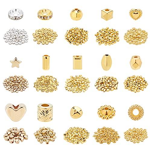 PandaHall 840 piezas de 15 estilos de joyería espaciadores de cuentas facetadas CCB cuentas de plata y oro cuentas sueltas facetadas para hacer pulseras de bricolaje collar y manualidades