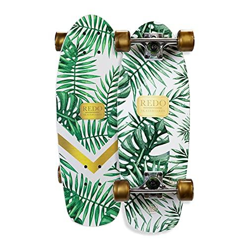 """ReDo Skateboard 24"""" x 7"""" Shorty Green Palm Cruiser Complete Skateboard for Boys Girls Kids Teens"""