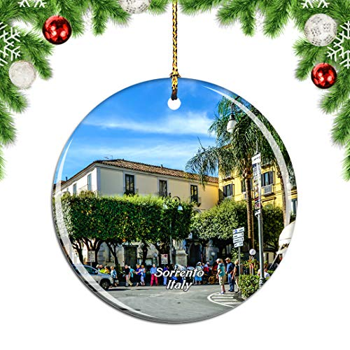 Weekino Italy Sorrento Square副本.png Christmas Xmas Tree Ornament Decoration Hanging Pendant Decor City Travel Souvenir Collection Double Sided Porcelain 2.85 Inch