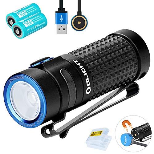 Olight S1R Baton II Mini Taschenlampe 1000 Lumen Kaltes Weiß LED Kompakt USB Magnetische Wiederaufladbare Kleine EDC Taschenlampen, mit 2 * 16340 Akku + BanTac Batteriefach