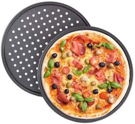 YFOX Vassoio per Pizza Antiaderente in Acciaio al Carbonio Perforato,Rotondo,32x32x1,5cm (Grigio)