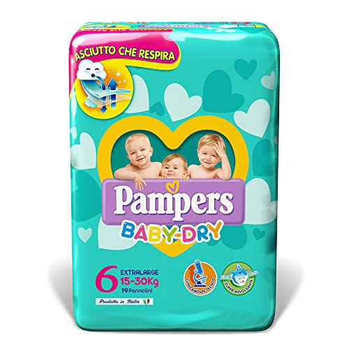 Pampers Baby Dry Pannolini Extralarge, Taglia 6 (15-30 kg), 19 Pannolini