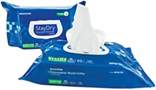 McKesson Staydry Disposable Washcloths with Aloe, Pre-moistened, 8 X 12