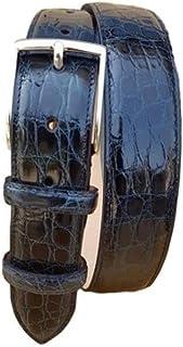 ESPERANTO Cintura in fianco di coccodrillo blu 3,5 cm per taglie forti