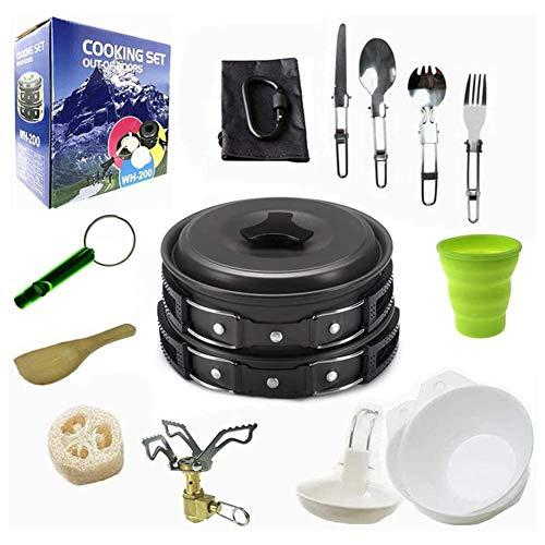 ZHANGXJ Ligero Nuevo Kits de Cocina para Acampada 1-2 Personas Juego de Olla para Acampada Durable Portátil Kit de Utensilios para Acampada, Pícnic, Senderismo Senderismo (Color : Black)