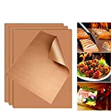 SKYBD Copper Grill Mat (Set of 5) Non-Stick BBQ Grill&Baking Mat for Gas, Charcoal, Electric Grill Sheet, Reusable,Heavy-Duty, Easy to Clean - 15.75 x 13 Inch (Gold)