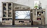 Wohnwand Wohnzimmer-Set 'BONANZA' 5 tlg. Vitrine Kommode TV lowboard TV Tisch Wandregal Couchtisch vintage shabby inkl. Beleuchtung
