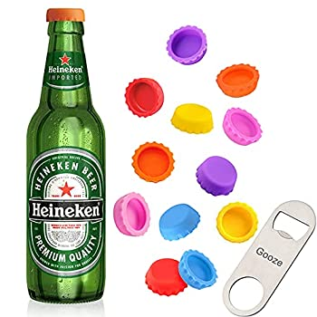 Beer Bottle Caps Gooze 12 Pack Beer Caps Saver Silicone Rubber Bottle Caps Soda Bottle Stopper Hat Reusable Reseal 6 Colors Used for Beer Soda Soft Drink Home Brewing Bottle Mark With Opener