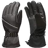 MPHABON Ski Gloves Mens Winter Gloves Waterproof Windproof Outdoor Snowboard Warm Gloves Womens Gloves (Black)