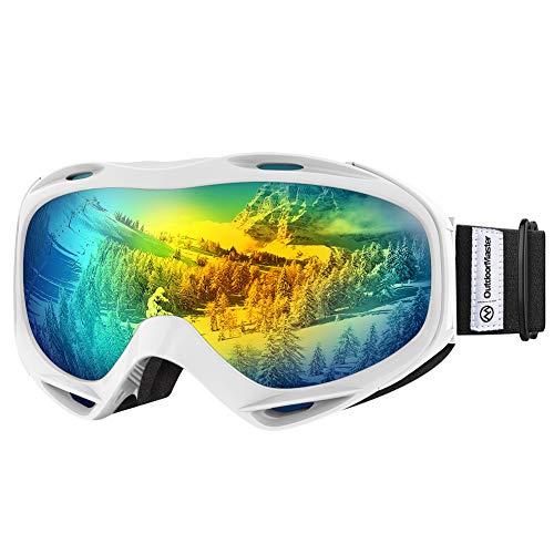 OutdoorMaster OTG Ski Goggles - Over Glasses Ski/Snowboard Goggles for Men, Women & Youth - 100% UV Protection (White Frame + VLT 13.1% Grey Lens with REVO Gold)