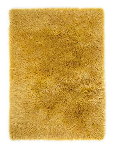 andiamo Teppich Kunstfell Ovium Schaffell Imitat für Wohnzimmer Schlafzimmer auf dem Stuhl, senfgelb, Acryl + Polyester, 80 x 150 cm