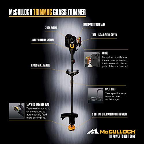 McCulloch TRIMMAC Trimmer: 25cc, 40 cm Working Width, Split Shaft, Double Thread Tracking, Combi Guard, Tap N Go Trimmer Head, Lightweight