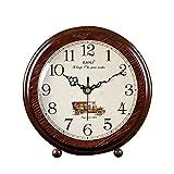Retro Reloj de sobremesa Salón de Madera Maciza Reloj de Mesa Decoración Simple Péndulo Reloj Creativo Pequeño Reloj (Color : Brown, Size : 24cm/9.4') Relojes de Chimenea