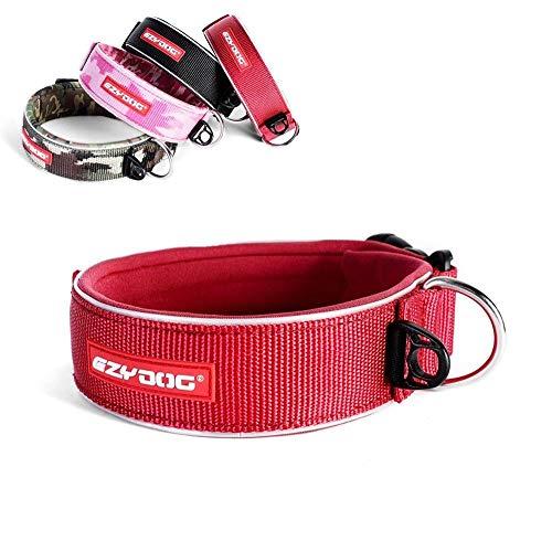 EzyDog Neo Wide - Halsband Hund breit, Hundehalsband für Große Hunde | Neopren gepolstert, reflektierend, wasserfest (L, Rot)