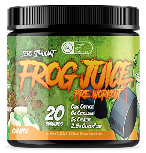 Frog Juice - Original Caffeine Free Non Stimulant Pre Workout Energy Drink Powder, 20 Servings - Green Apple