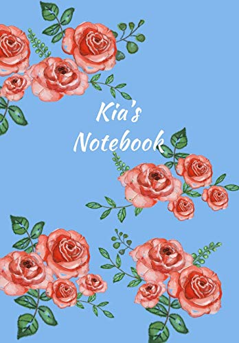 Kia's Notebook: Personalized Journal – Garden Flowers Pattern. Red Rose Blooms on Baby Blue Cover. Dot Grid Notebook for Notes, Journaling. Floral Watercolor Design with First Name