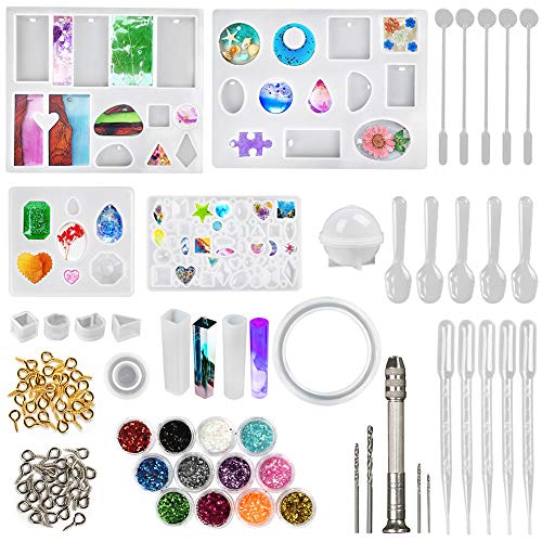 LotFancy Epoxy Resin Molds, 141pcs Resin Jewelry Making Kit, Silicone Molds for Resin Casting, DIY Crystal Glue Jewelry Mold Set for Pendant Earring, Includes Hand Drill, Glitter Sequins and Tools