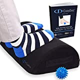 CozyDoc Ergonomic Foot Rest Cushion Under Desk + Massage Ball | The Most Comfortable Footrest for Home, Office, Travel | Doctor Designed Orthopedic Foam for Feet, Knee, Back Pain Relief【Black】