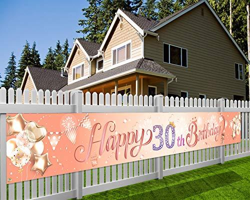 HOWAF Extra Lange Banner für 30. Geburtstag Dekoration Rose Gold, 30. Geburtstag Stoff Photo Booth Hintergrund für Frauen 30 Geburtstag Deko Garten Tabelle Mauer, 9*1.2 Füße