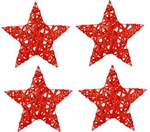 Chaks 0606-82, Sachet de 4 Etoiles rotin paillettes 7cm, Rouge