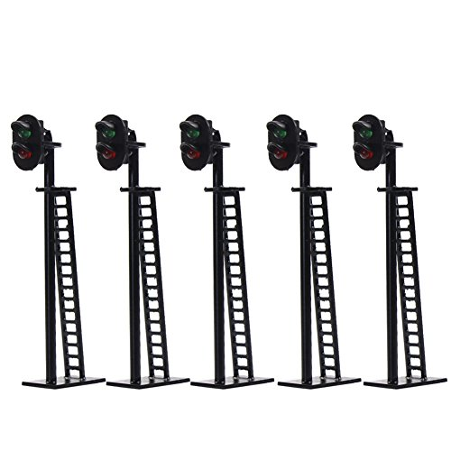 JTD03 5pcs Model Railway 2-Light Block Signal Green/Red HO Scale 6.4cm 12V Led Traffic Lights for Train Layout New