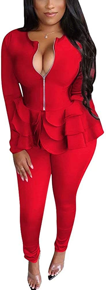 Women Two Piece Tracksuit Zipper Jackets Leggings Ou Bodycon and Max 73% OFF Bargain