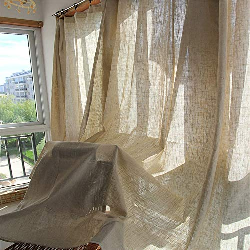 GGSDDDUP Leinen Semi-Shading Vorhänge, nordisch Minimalistisch Stil Fenster Dekoration, Halb Voile Vorhang mit Oben Öse Ring zum Schlafzimmer Wohnzimmer und Studie, Grau, 1 Panels,230 * 240 cm