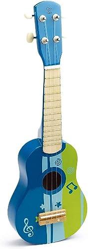 Hape - E0317 - Instrument de Musique en Bois Premier Age - Ukulele Bleu