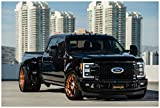Classic Car prints Ford F-350 Super Duty Lariat 4×4 CrewCab by Extang (2018) Truck Poster Print on 10 Mil Archival Satin Paper Black Front Side Static View (16'x20')