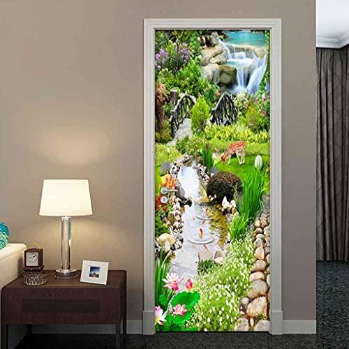 UIMXYZD Murale per porta Giardino, torrente, fiume Autoadesivo impermeabile Decorazione Home Wall Arte murale Decalcomanie Soggiorno cucina Hotel Café Office Rimovibile , Multicolore 88x200cm