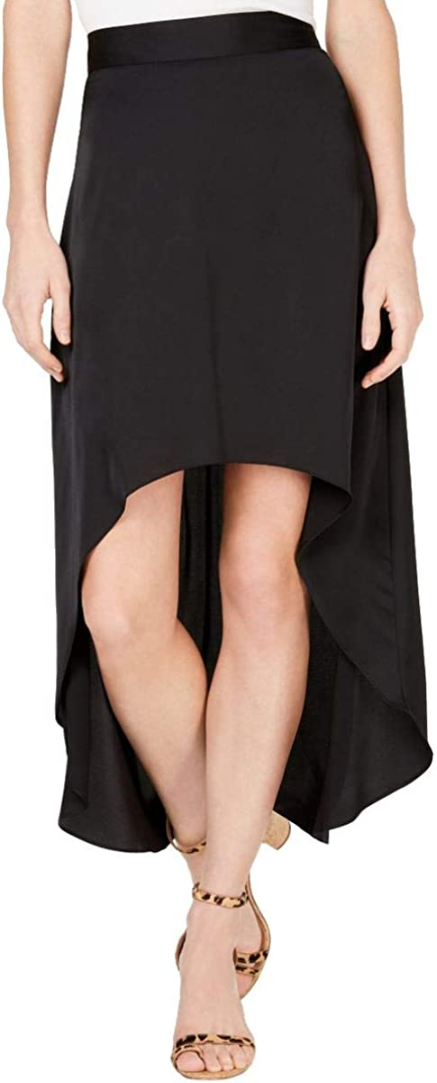 INC Women's Solid Satin Side-zip Hi-low A-Line Skirt