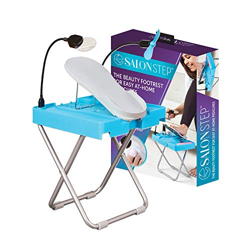 Salon Step The Beauty Footrest for Easy At-Home Pedicures, Treat Your Feet, No More Bending or Stretching with LED Magnifier, Drying Fan, Adjustable Foot Rest, Non-Slip Sturdy Legs & Built-In Storage
