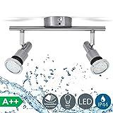 B.K. Licht plafonnier SDB LED 2 spots orientables, IP44, luminaire plafond salle...