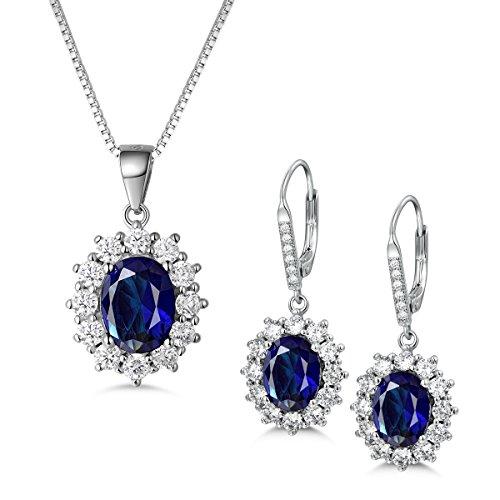 MASOP Damen Schmuckset 925 Sterling Silber Saphir Ohrringe Halskette mit Anhänger Blau Oval und Weiß Rund Zirkonia CZ Prinzessin Diana Luxus Schmuck