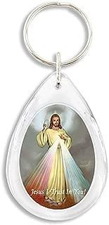 The Divine Mercy Jesus Christ Acrylic Tear Drop Keychain, 3 1/4 Inch