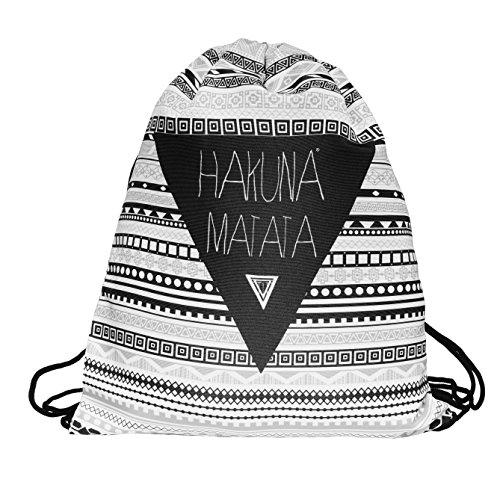 Beutel Hakuna Matata ® Aztec Aufdruck Tasche Turnbeutel Rucksack Jutebeutel Sportbeutel Gym Bag Gymsack Hipster Fashion Loomiloo ®