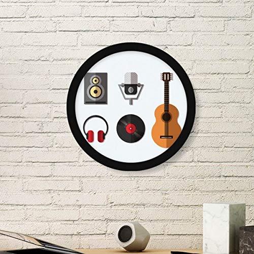 DIYthinker Gitaar Headset Cd Microfoon Muziek Patroon Ronde Beeld Frame Kunst Prints Van Schilderijen Thuis Muursticker Gift