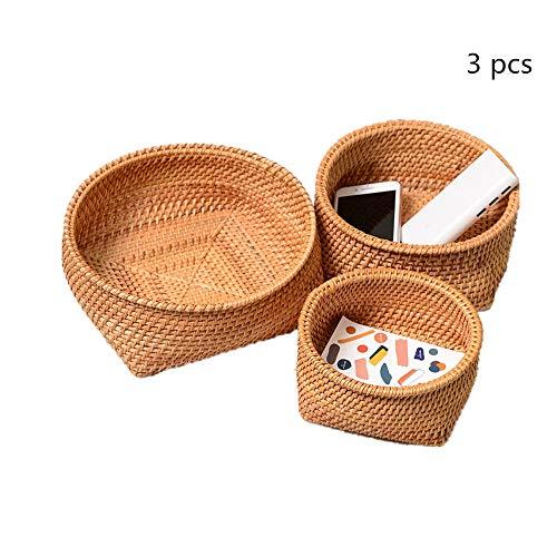OUY Rattan Fruit Basket Desktop Storage Basket Candy Snacks Plate Storage Box Handwoven Rattan Woven Storage Basket (Color : Natural, Size : S+M+L)
