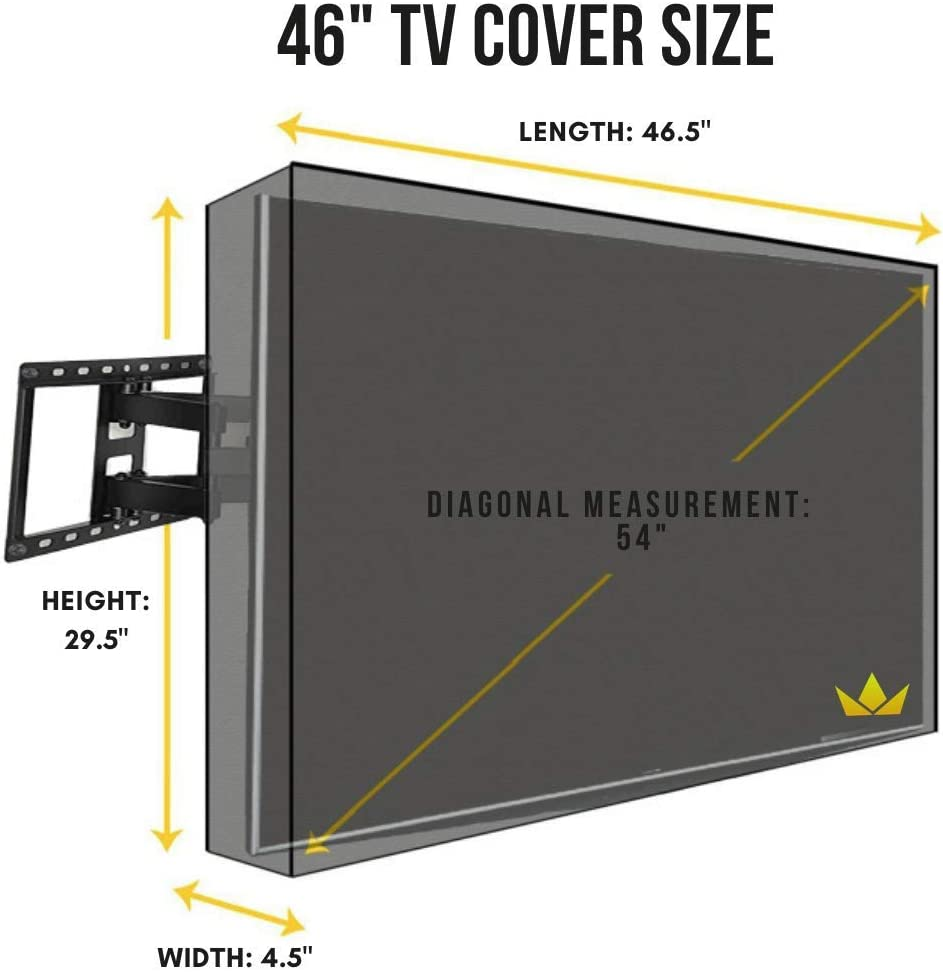30-32, Beige Lish Outdoor TV Cover with Front Flap Weatherproof Material