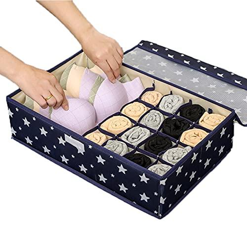 NEISRAI Underwear Drawer Organizer And Closet Dividers,Breathable Materials, Storage Box for Underwear , Bra,Clothes, Socks... (Five-pointed Star)