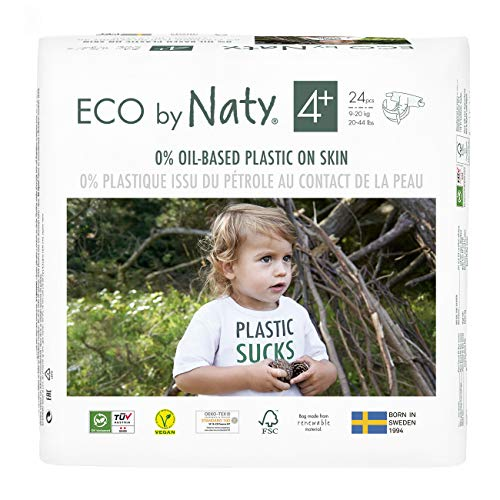 Eco by Naty, Taille 4+, 144 couches, 9-20kg, Soit UN MOIS d'utilisation. Couche écologique fabriquée à partir de fibres végétales, 0% de plastique (issu du pétrole) au contact de la peau de bébé.