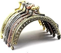 5pcs Dia.8.5cm 3.3 Inch Retro Half Round Bead Embossed Metal Purse Frame Coin Bag Kiss Clasp Lock DIY Craft Assorted 5 Color/Set