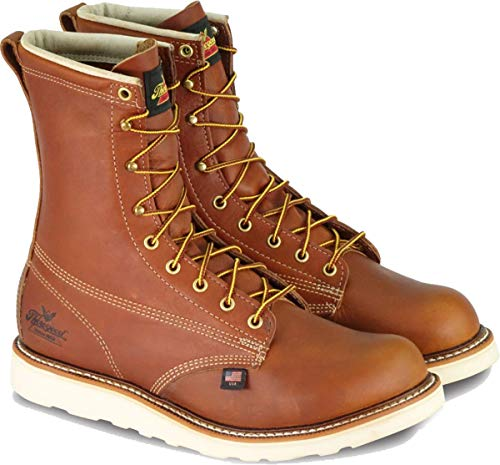 """Thorogood 804-4364 Men's American Heritage 8"""" Round Toe, MAXWear Wedge Safety Toe Boot, Tobacco Oil-Tanned - 11 D(M) US"""