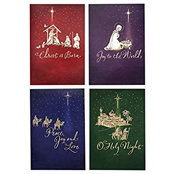Image Arts Religious Boxed Christmas Cards Assortment  4 Designs 24 Christmas Cards with Envelopes