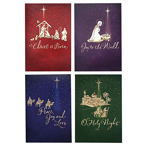 Image Arts Religious Boxed Christmas Cards Assortment (4 Designs, 24 Christmas Cards with Envelopes)