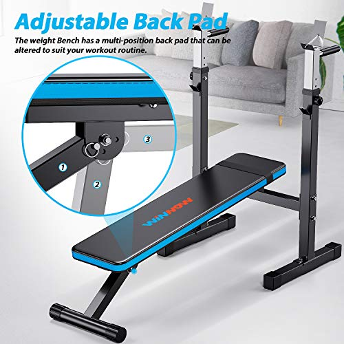 WINNOW Adjustable Weight Bench with Dip Station Folding Heavy Duty Weight Lifting Bench Home Training Gym Multiuse Workout Bench