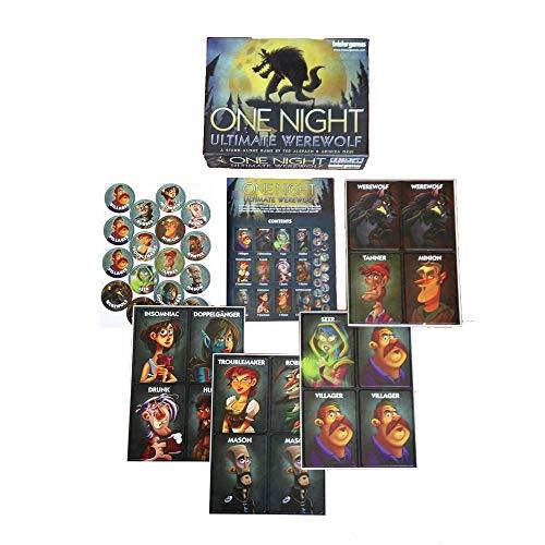 kuaetily One Night Ultimate Werewolf, Werwölfe Vollmondnacht Kartenspiel, Brettspiel (Englisch)