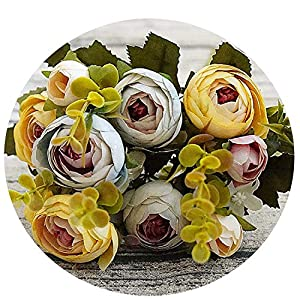Elibone 10 Heads /1 Bundle Silk Tea Roses Bride Bouquet for Christmas Home Wedding New Year Decoration Fake Plants Artificial Flowers,Yellow