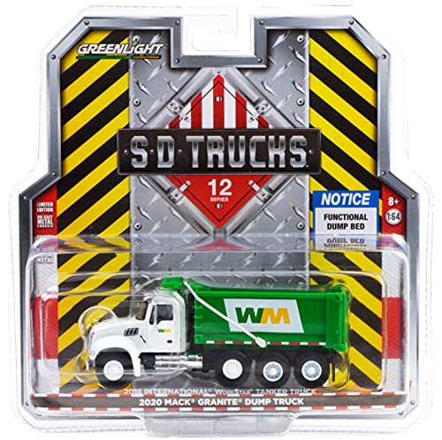 2020 Mack Granite Dump Truck White and Green Waste Management S.D. Trucks Series 12 1/64 Diecast Model by Greenlight 45120 B